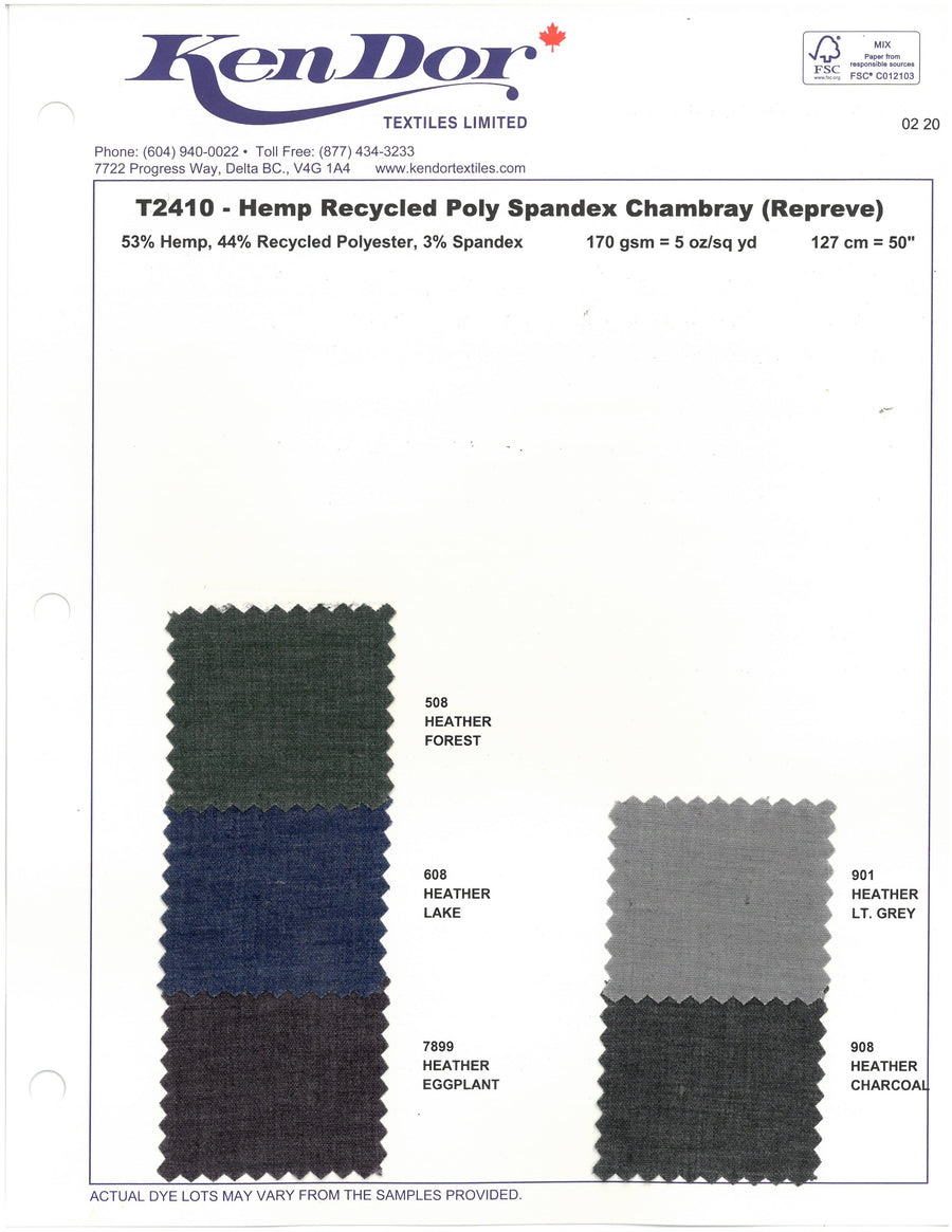 T2410 - Hemp Recycled Poly Spandex Chambray (Repreve)