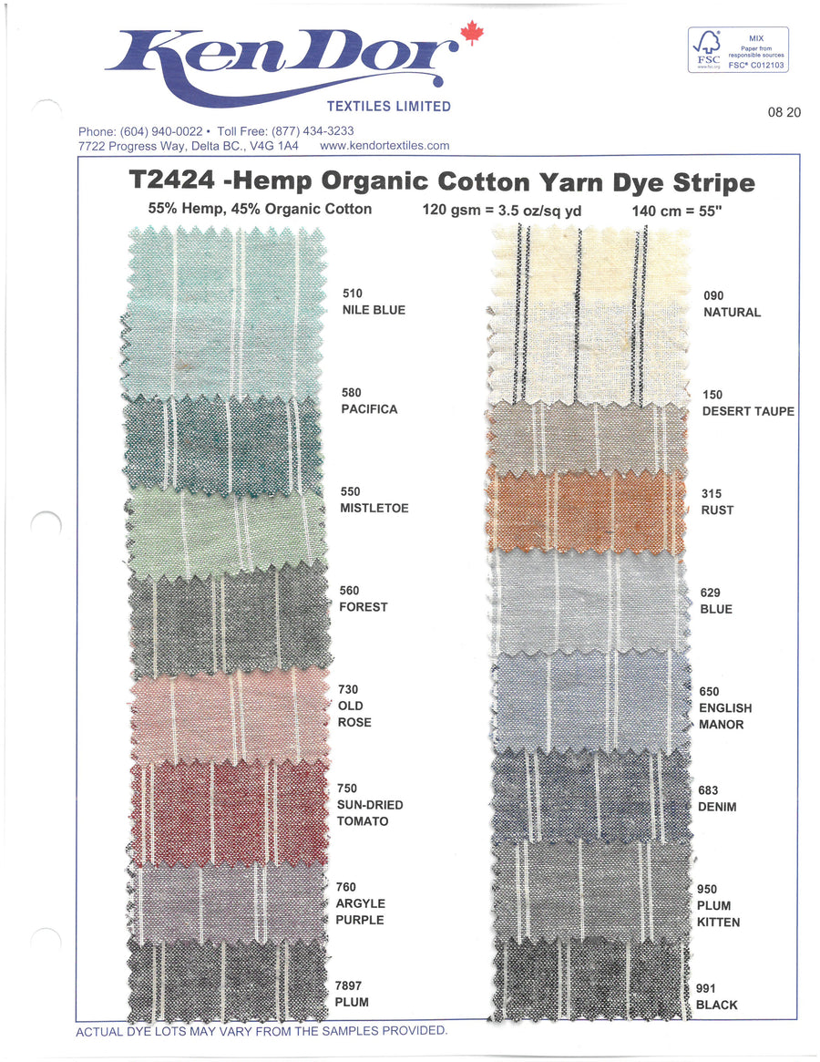 T2424 - Hemp Organic Cotton Yarn Dye Stripe