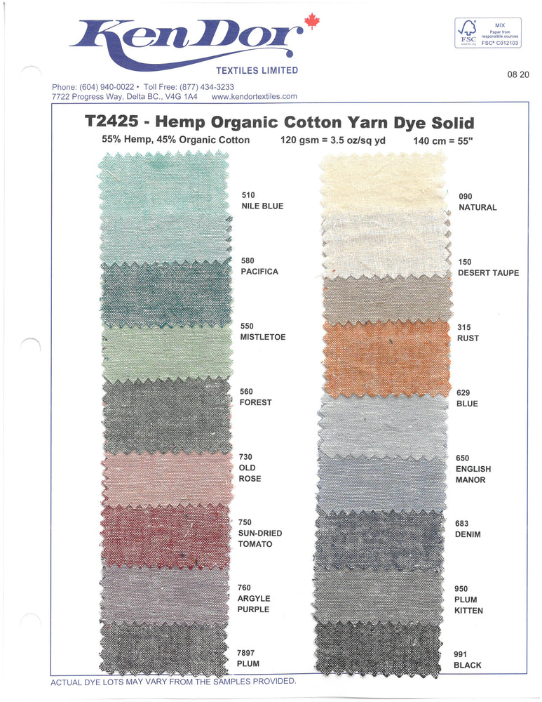 T2425 - Hemp Organic Cotton Yarn Dye Solid