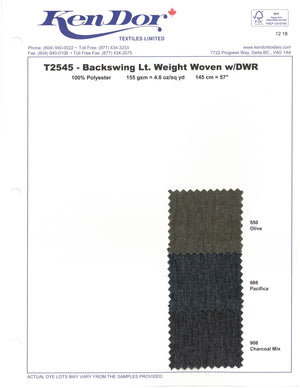 T2545 - Backswing Light Weight Woven With DWR