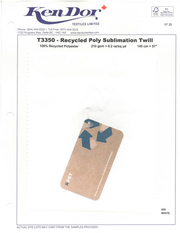 T3350 - Recycled Poly Sublimation Twill