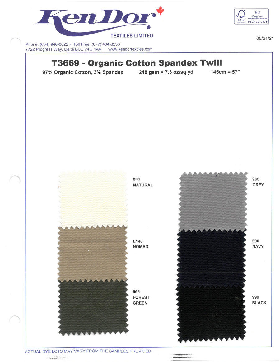 T3669 - Organic Cotton Stretch Spandex Twill