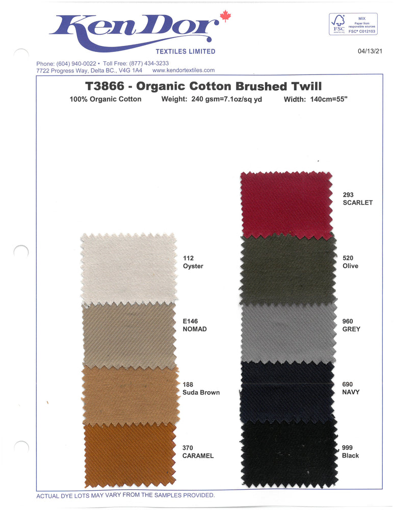 T3866 - Organic Cotton Brushed Twill