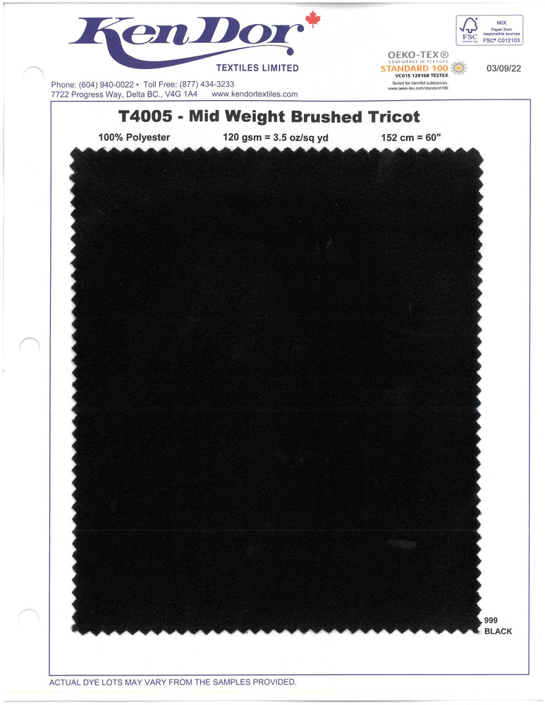 T4005 - Mid Weight Brushed Tricot