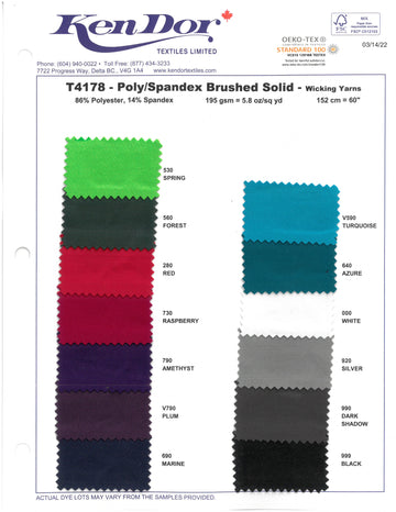 T4178 - Poly/Spandex Brushed Solid Colors