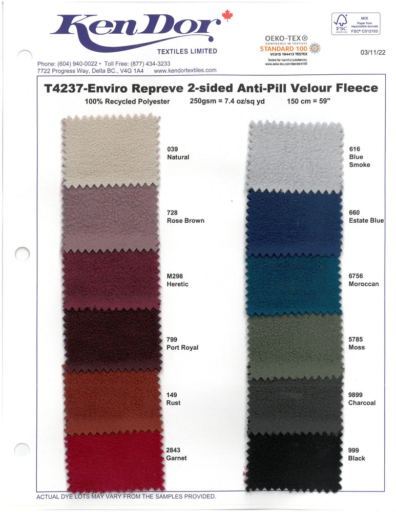 T4237 - Enviro Repreve 2-Side  Anti-Pill Velour Fleece (Swatch Card Coming End of April)