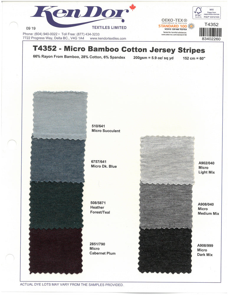 T4352 - Micro Bamboo Cotton Jersey Stripes