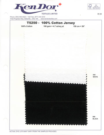 T5250  - 100% Cotton Jersey