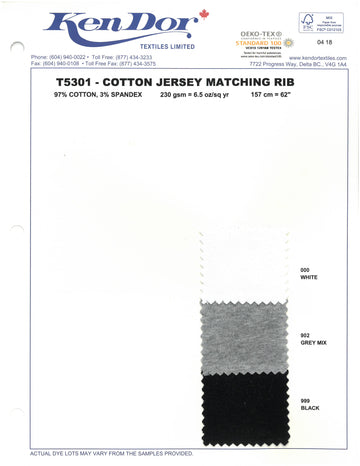 T5301 - Cotton Jersey Matching Rib