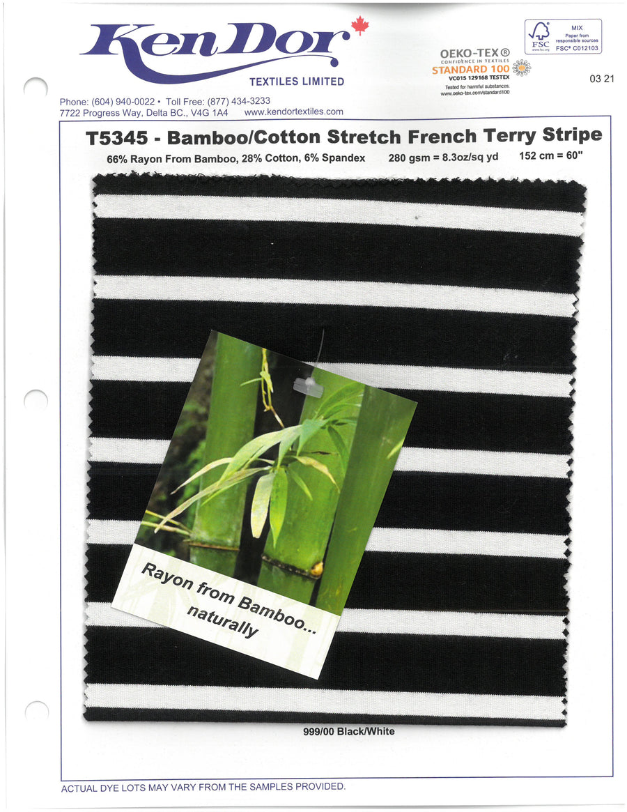 T5345 - Bamboo/Cotton Stretch French Terry Stripe