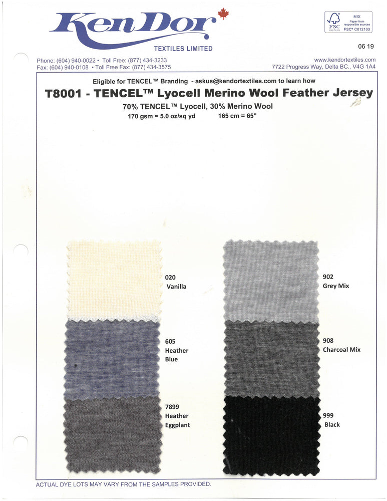 T8001 - Tencel™  Merino Wool Feather Jersey
