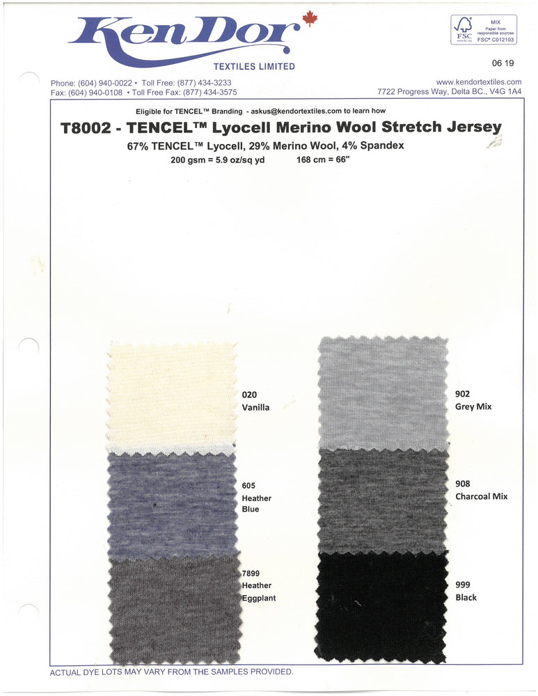 T8002 - TENCEL™ Lyocell Merino Wool Stretch Jersey