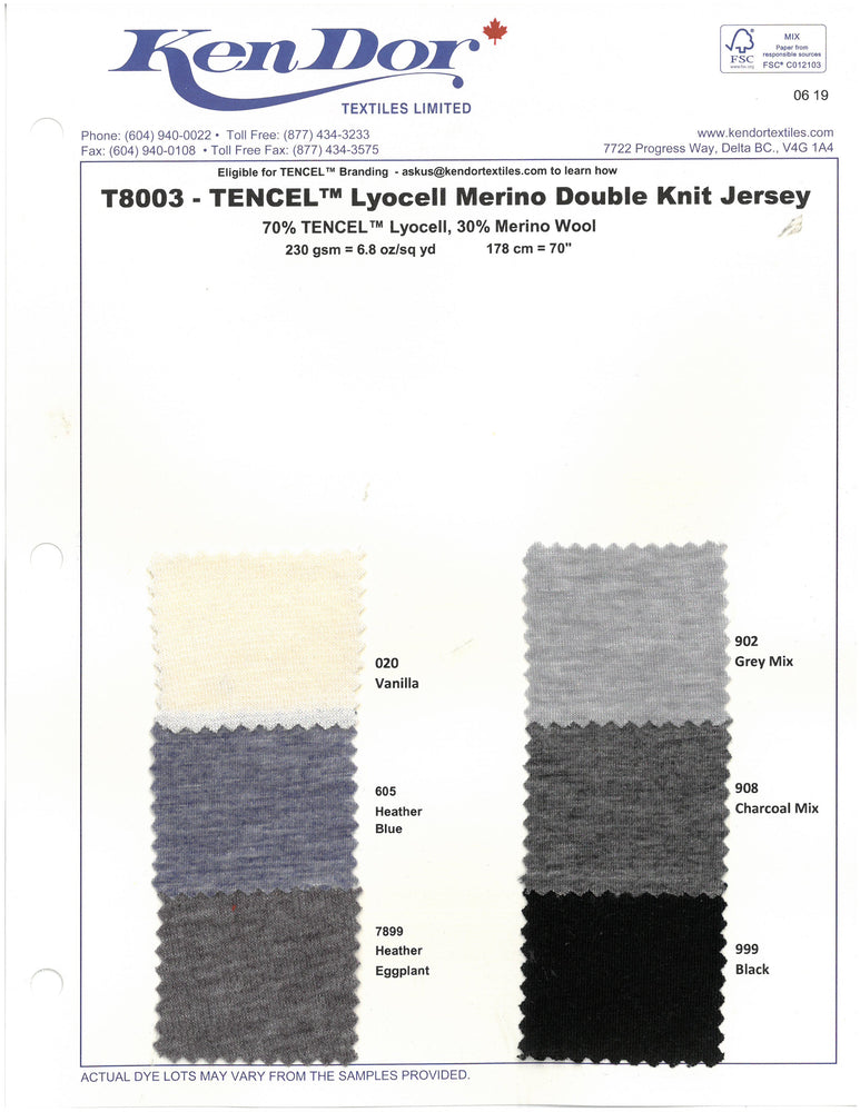 T8003 - Tencel™ Merino Double Knit Jersey (Cards Available April 2019)