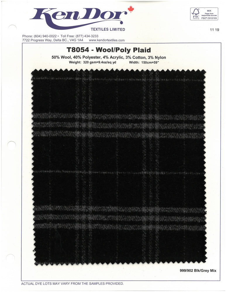 T8054 - Wool/Poly Plaid