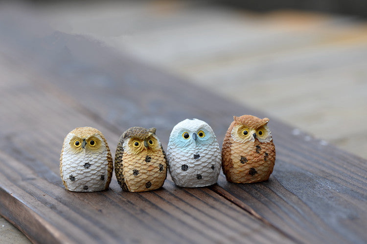 4pcs Cute Miniature Owl Figures