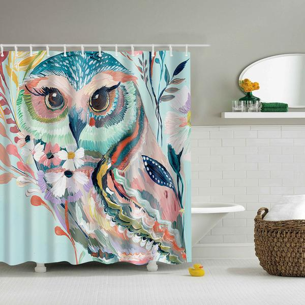 Mesmerizing Owl Print  Shower Curtain