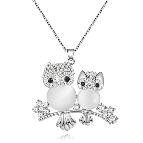 Owls On Branch Crystal Necklace