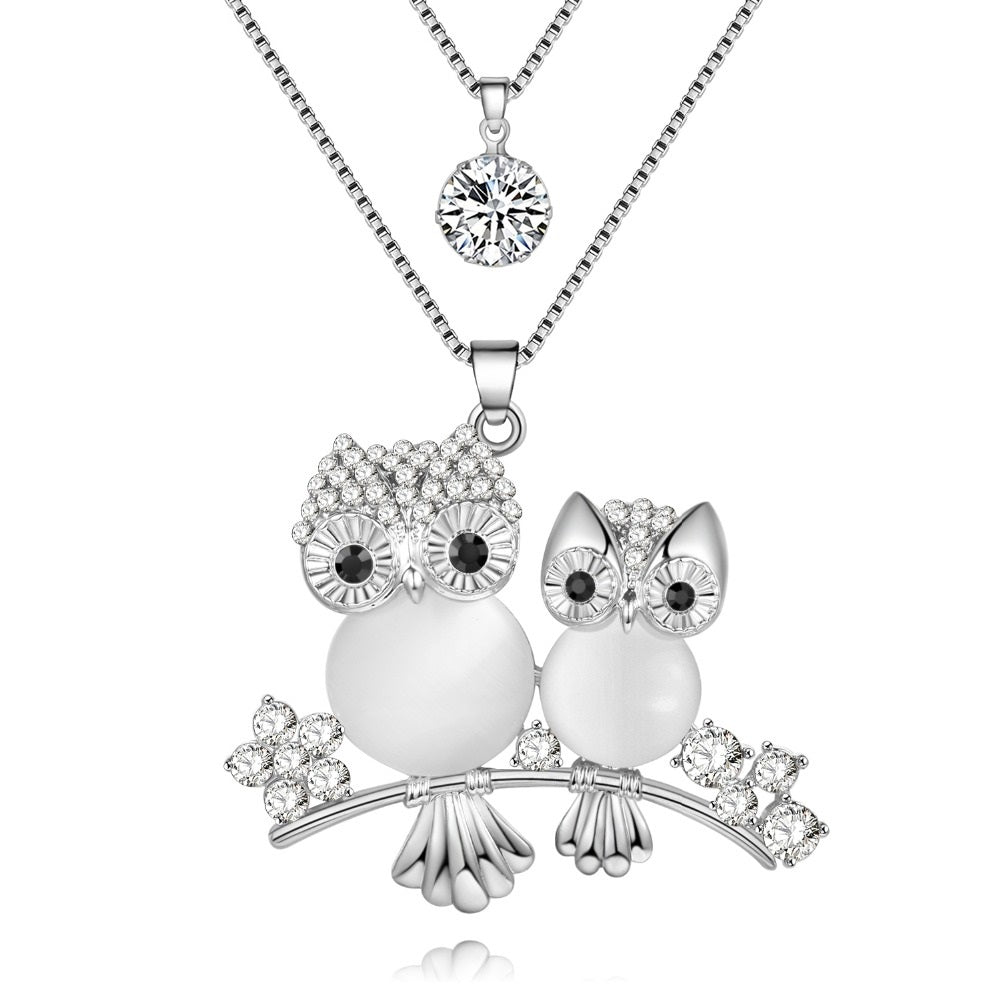 Owls On a Branch With a Sparkle Above Necklace