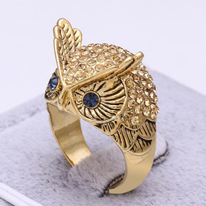 18K Gold Plated & High quality clear Stellux Austrian Rhinestones +Yellow Crystals Owl Ring