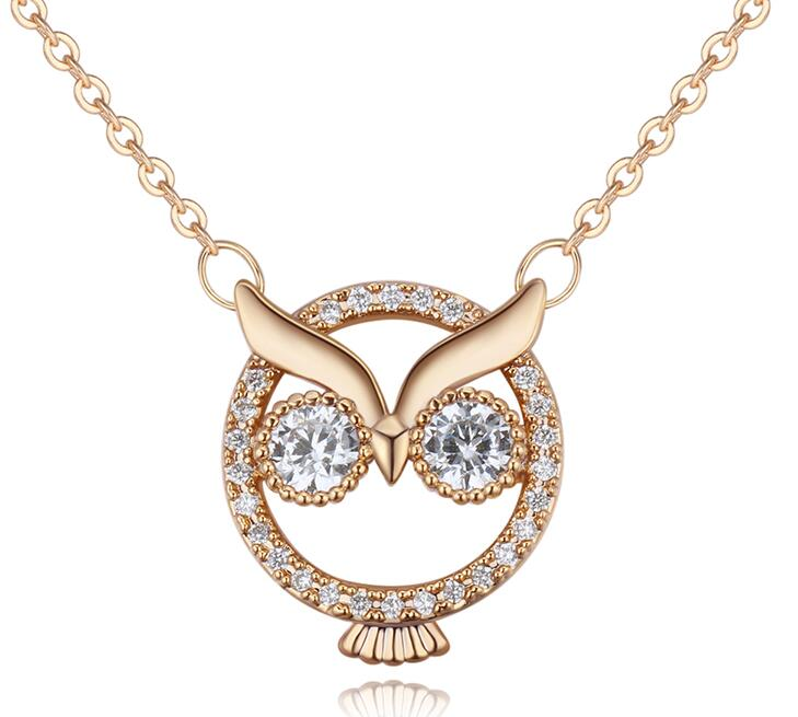 Dazzling Luxuary Zircons Owl Pendant Necklace
