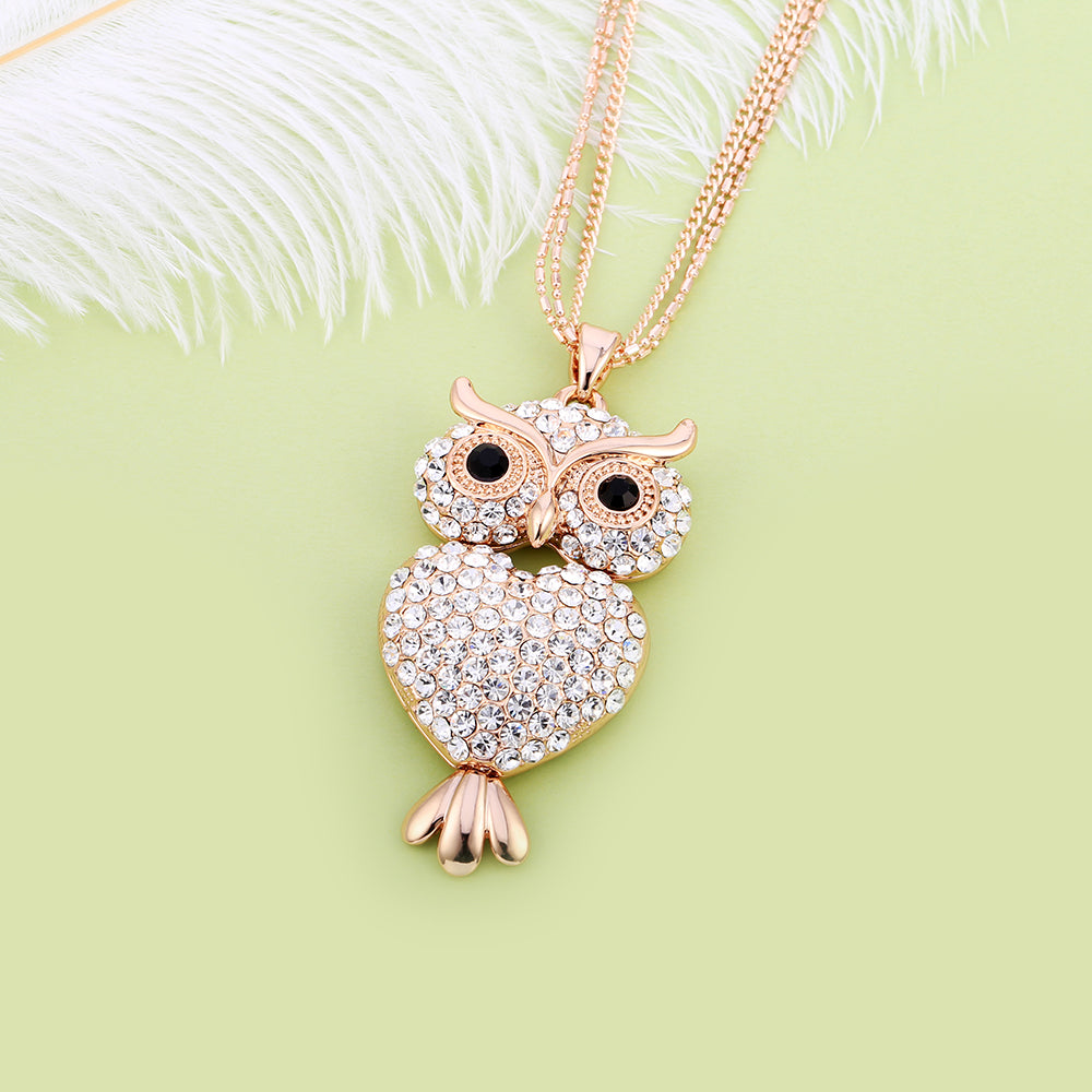 Heart Shaped Rhinestone Crystals Owl Pendant Necklace