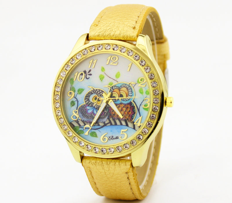 Printed Gold Rhinestone Quartz Owls Watch