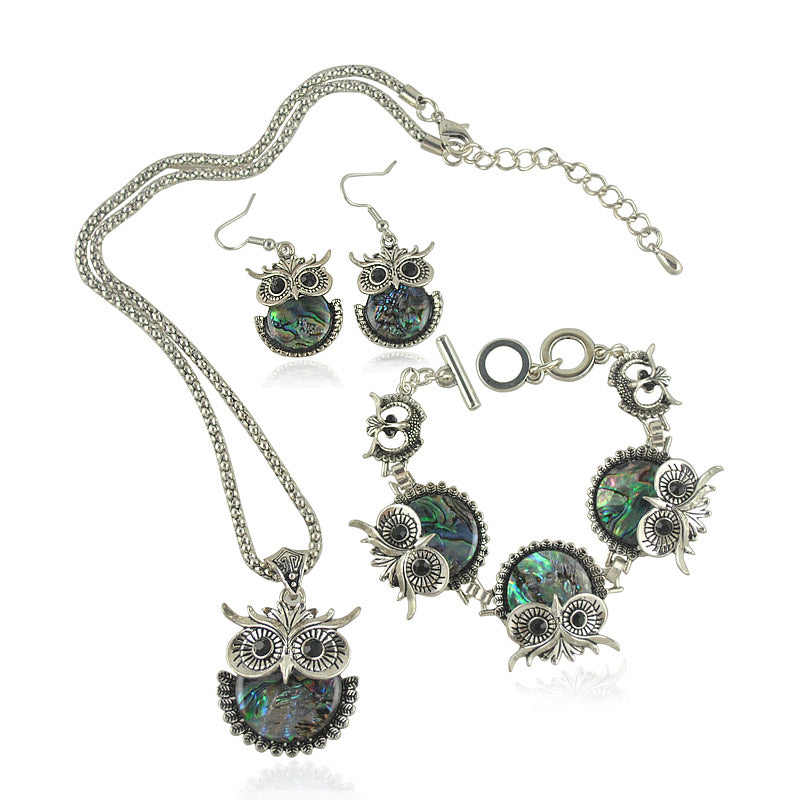 Vintage Design Silver Plated Shell Owl Bracelet + Necklace + Earrings Set