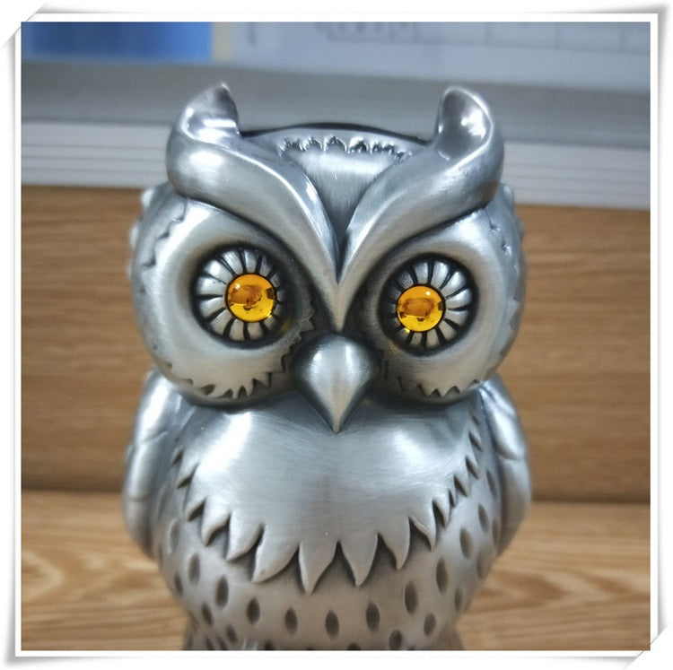 Metal Owl Piggy Bank With Eyes Of Fire