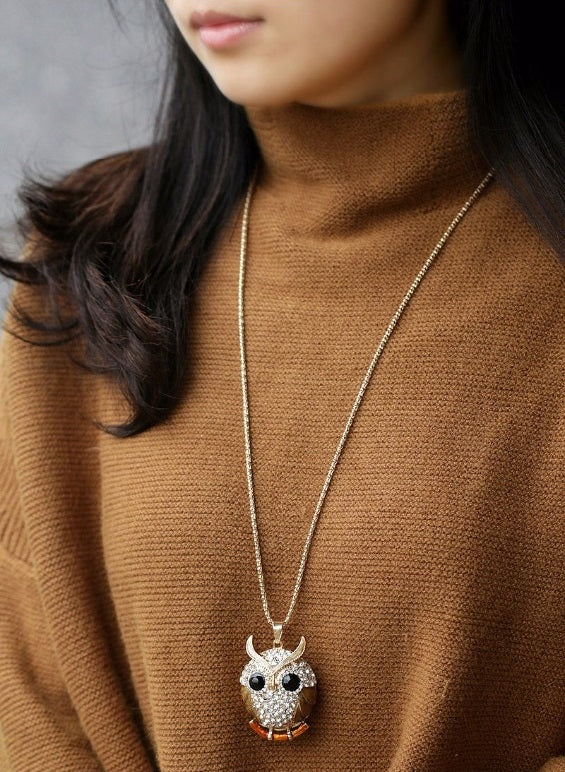 Sparkling Charm Owl Necklace