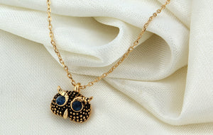 Blue Eyed Owl Choker Necklace