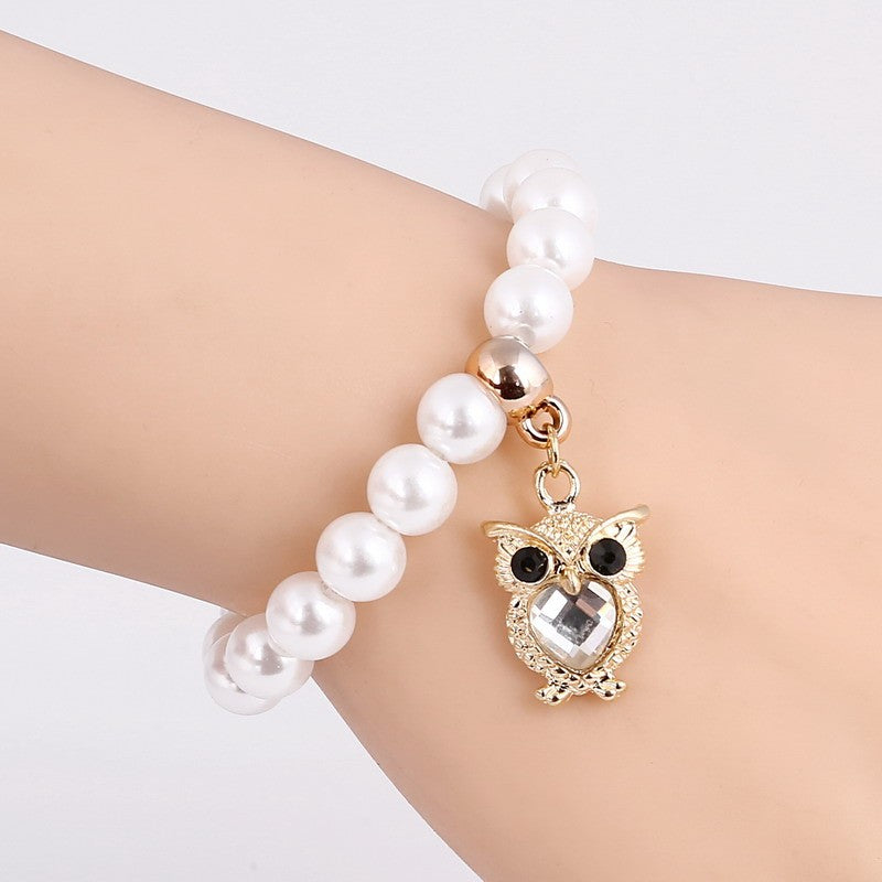 Cute Simulated Pearls Beaded Owl Bracelet