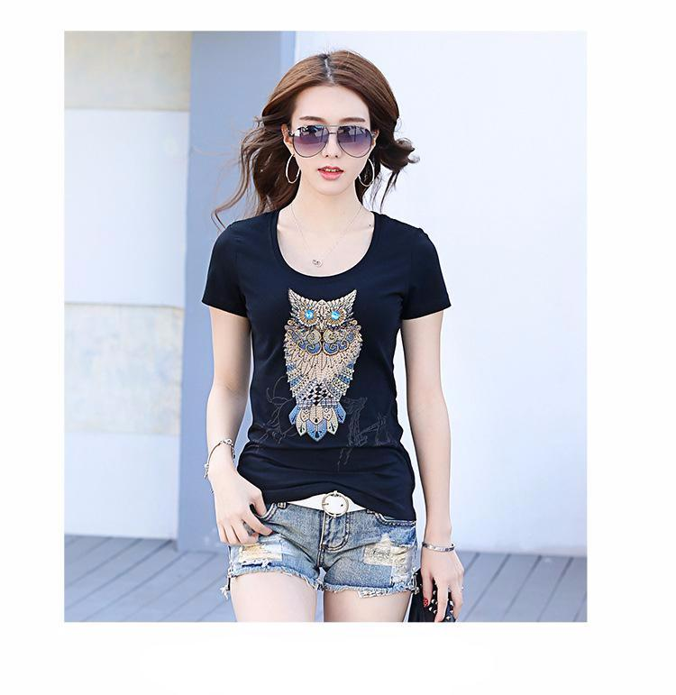 Crystals Owl T-Shirt For Ladies