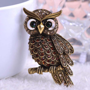 Large Antique Design Vintage Style Dazzling Owl Brooch