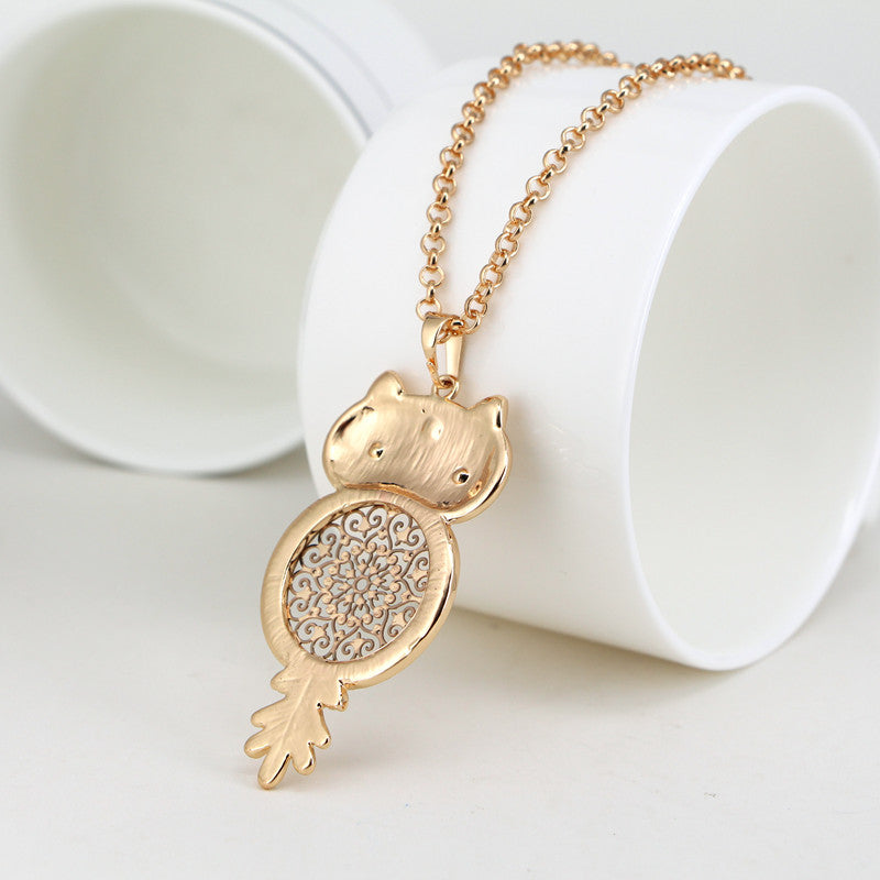 Mandala Owl Pendant Necklace With Crystals & Gold / Silver Plated