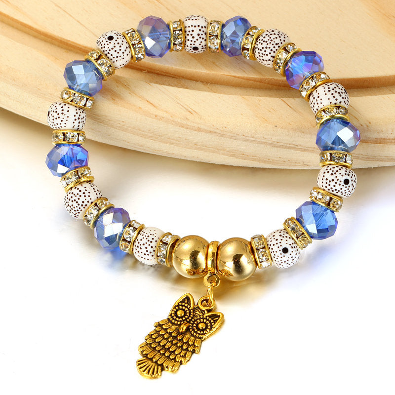 Crystal Sky Blue Beads & Natural Stone Charm Owl Bracelet