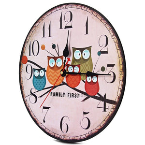 Large Wooden Rustic Owl Family Wall Clock