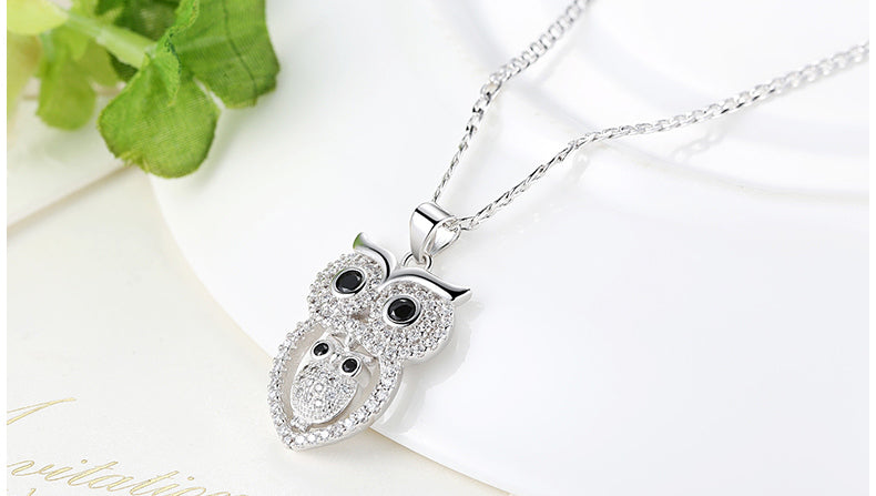 Luxury Owls ZIRCON Necklace + Real Platinum Plated, White Gold + Copper