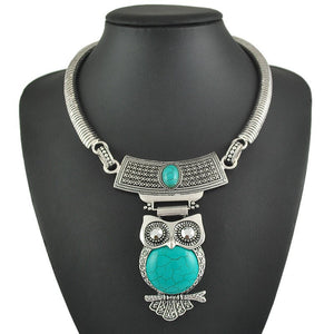 Giant Vintage Style Tibetan Silver Plated Owl Necklace