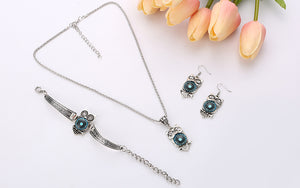 Owl Tibetan Vintage Design Bracelet + Necklace + Earrings Set