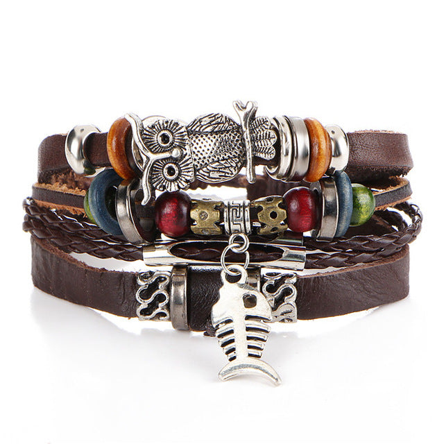 Punk Design 4-Layered Leather Owl Bracelet