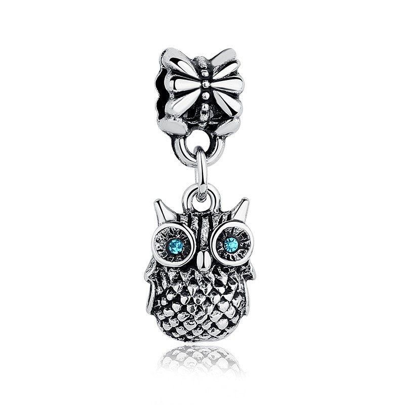 High Quality Silver Plated Blue CUBIC ZIRCONIA OWL Charm Pendant Fit Bracelet & Necklace