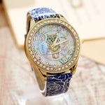 Golden Rim Quartz Owl Wristwatch