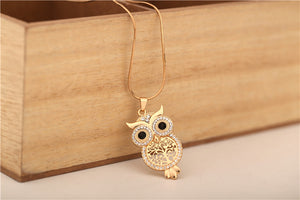 18K Gold/Silver Plated + Czech Crystal Tree Of Life Owl Necklace