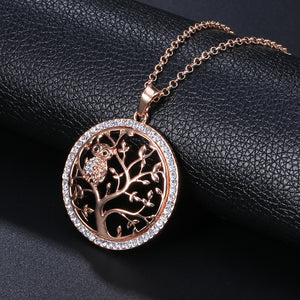 Tree Of Life Owl Crystals Necklace