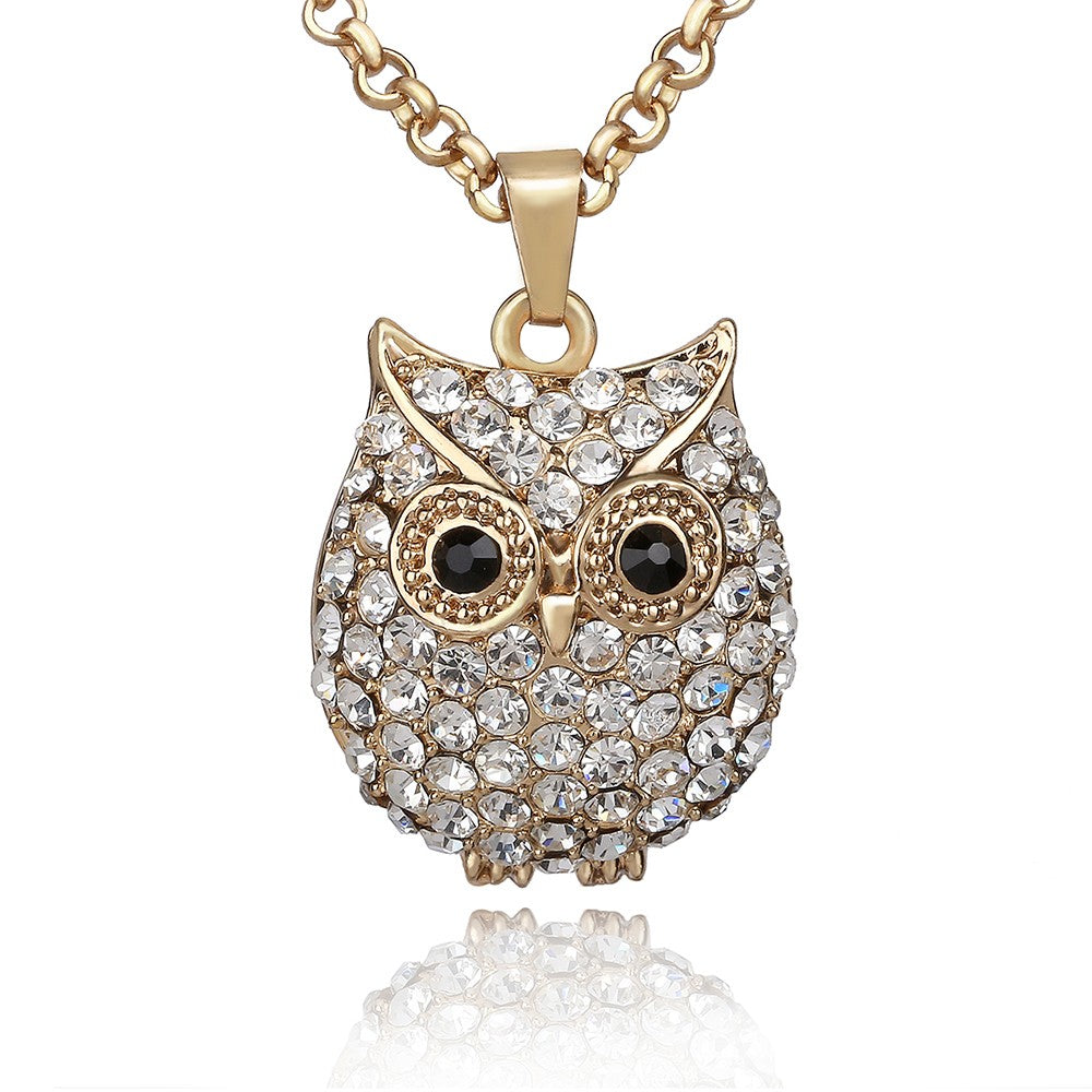 Rhinestone Owl Pendant Necklace