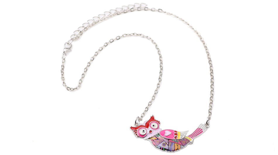 Enamel Owl Art Piece Necklace