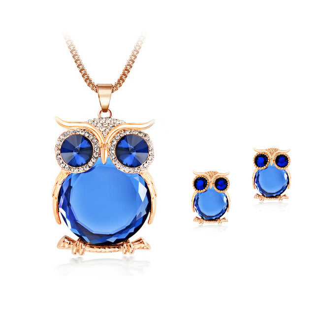 Crystal Owl Necklace + Earings Bundle