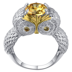 Dazzling 925 Sterling Silver Owl Ring