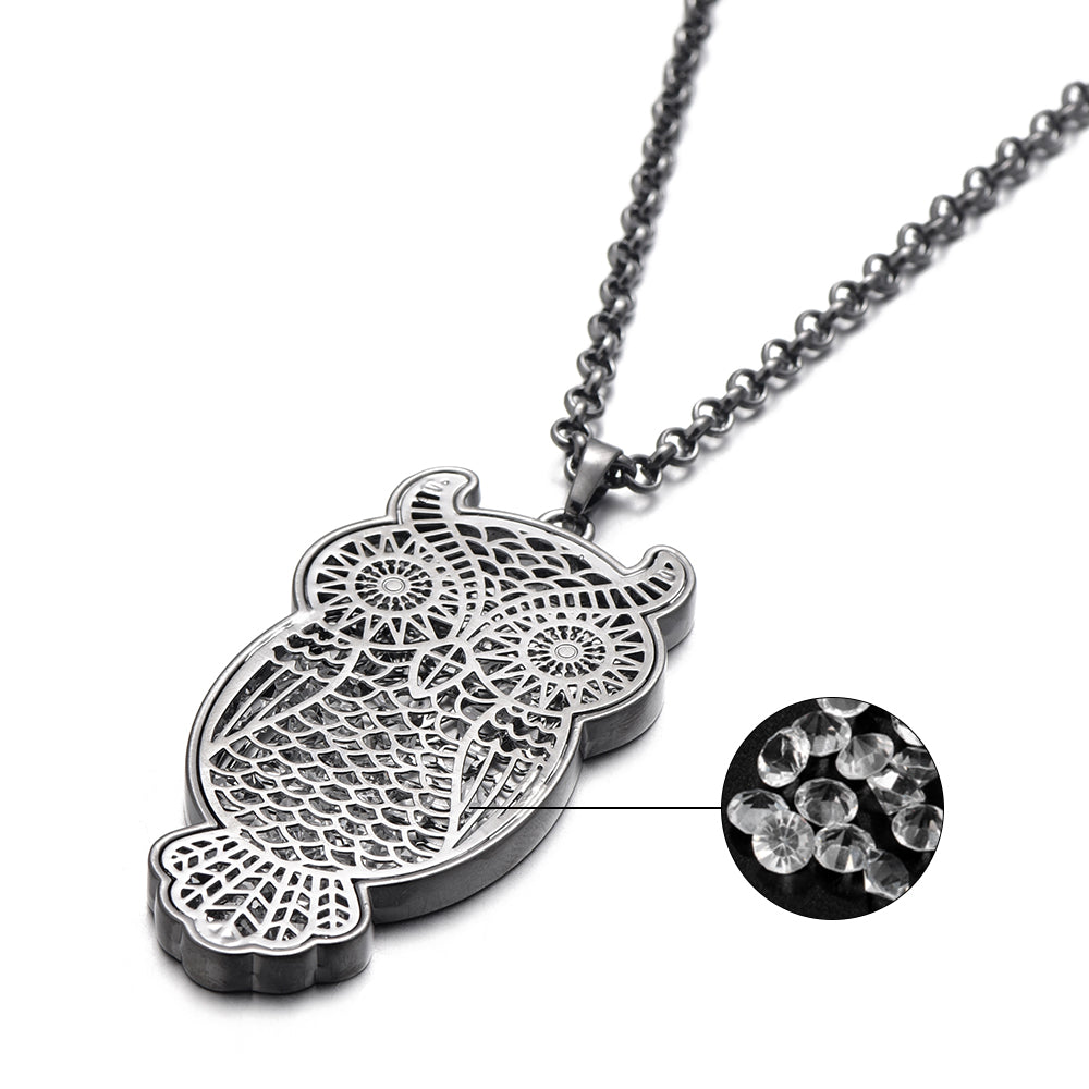 Luxury AAA Zircon Stone CZ Filled Inside A Vintage Style Owl Pendant Necklace