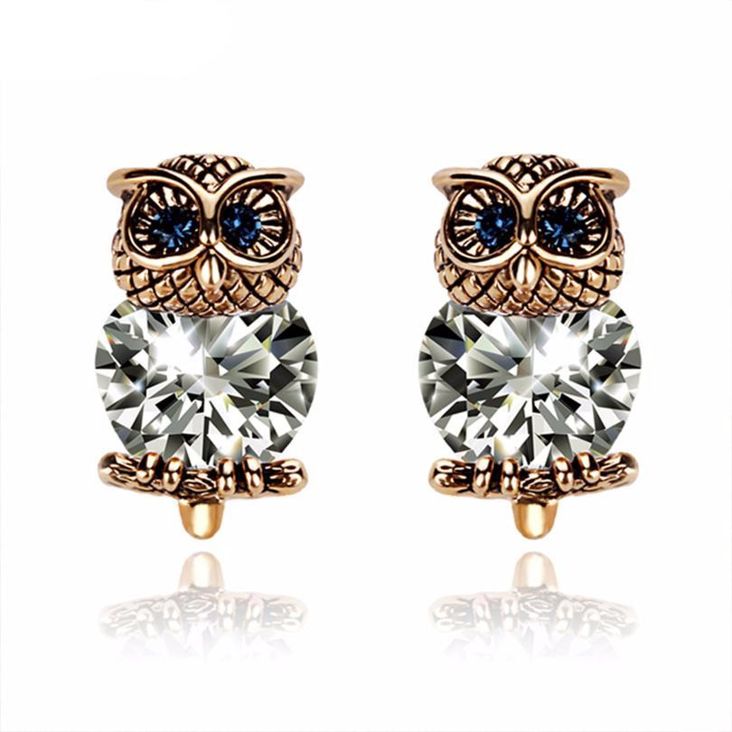 Luxurious Copper Plated & Austrian Rhinestones Owl Earrings